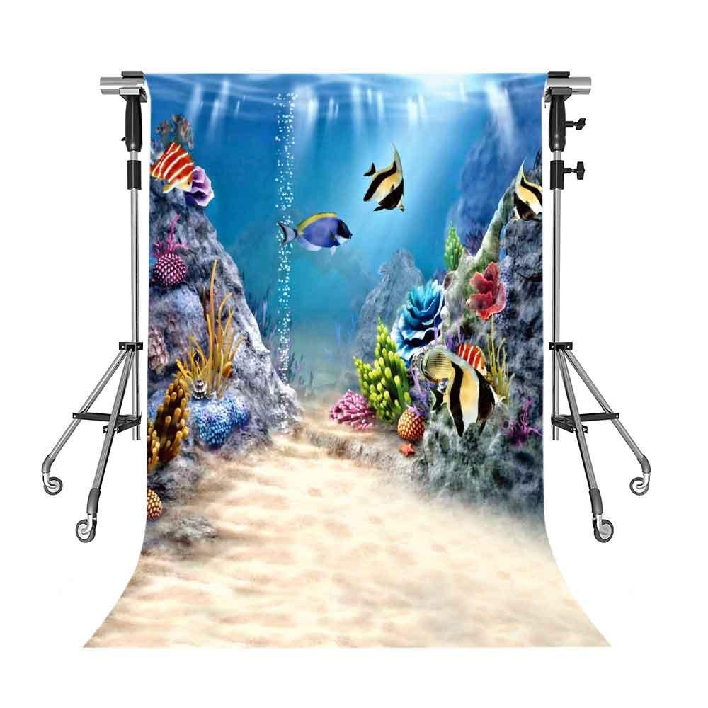 UnderwaterバックドロップColored魚写真背景meetsioy 5 x 7ftテーマパーティー写真ブースYoutube Backdrop gemt1294   B07FY66WDW