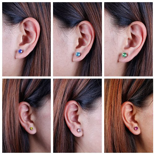 BMC 10pc Multicolor Sparkling Fashion Crystal Round Magnetic Clip On 6mm Stud Earring Set for Men/Women