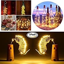 Cork Bottle Lights, 3 Pack Wine Bottle String Lights, DIY Decorative Lighting with Battery Powered, 20 LED Silver String Lights for Party, Decor, Christmas, Halloween, Wedding (Warm White 3 Pack)