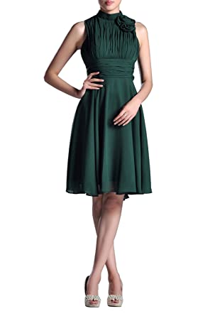 Night Out & Cocktail Chiffon Natrual Knee Short Formal Dresses for Women Evening, Color Holly