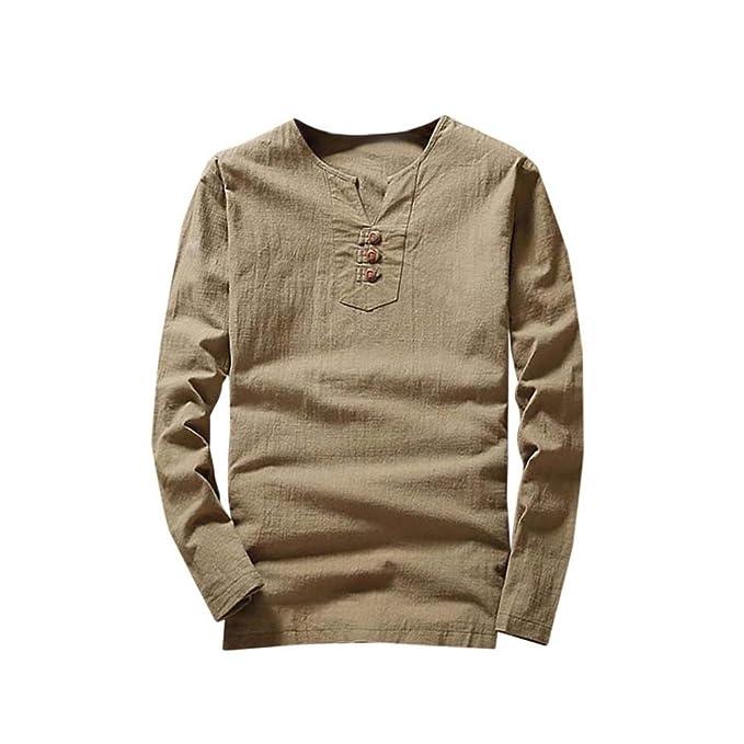 Resplend Camiseta de Verano con Mangas largas de algodón y Lino con Cuello en V y