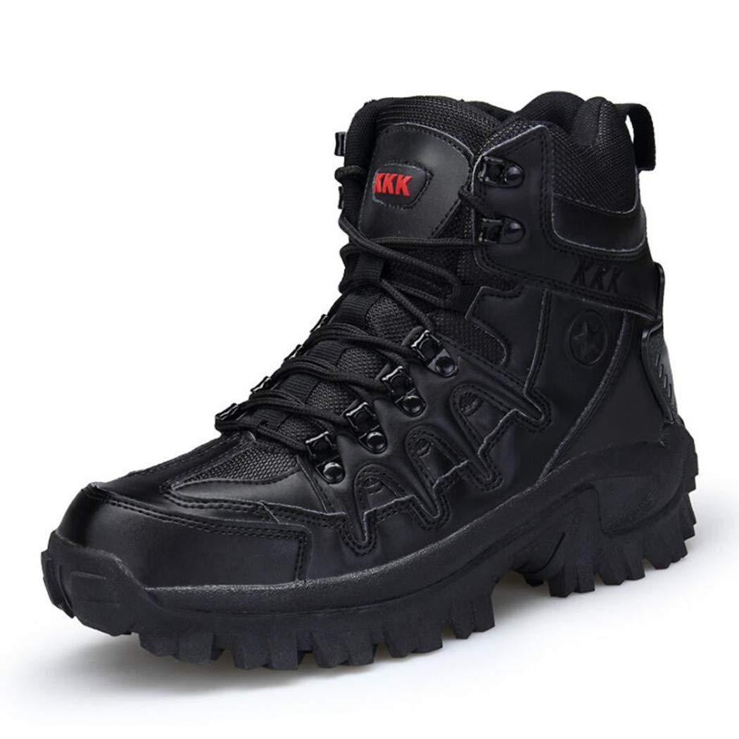 xxoshoe Bottes tactiques pour hommes Chaussures de randonnée et et et de randonnée mi-hautes Bottes d'hiver Travail de patrouille militaire Bottes de randonnée Chaussures stellaires tactiques Bottes de comb 41 EU|Noir afaf9f