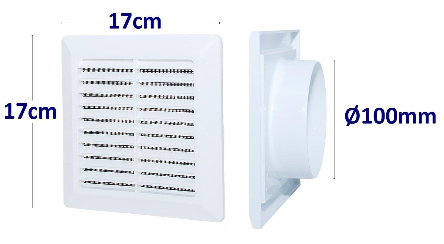 L/üftungsgitter Abschlussgitter Insektenschutz ABS-Kunststoff Gitter. Anschluss /Ø100mm, Wei/ß