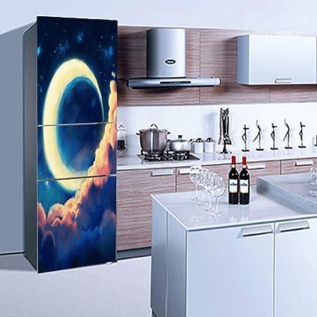QJXX Pegatinas Nevera 3D Crescent Moon Door Wallpaper Full Cover ...