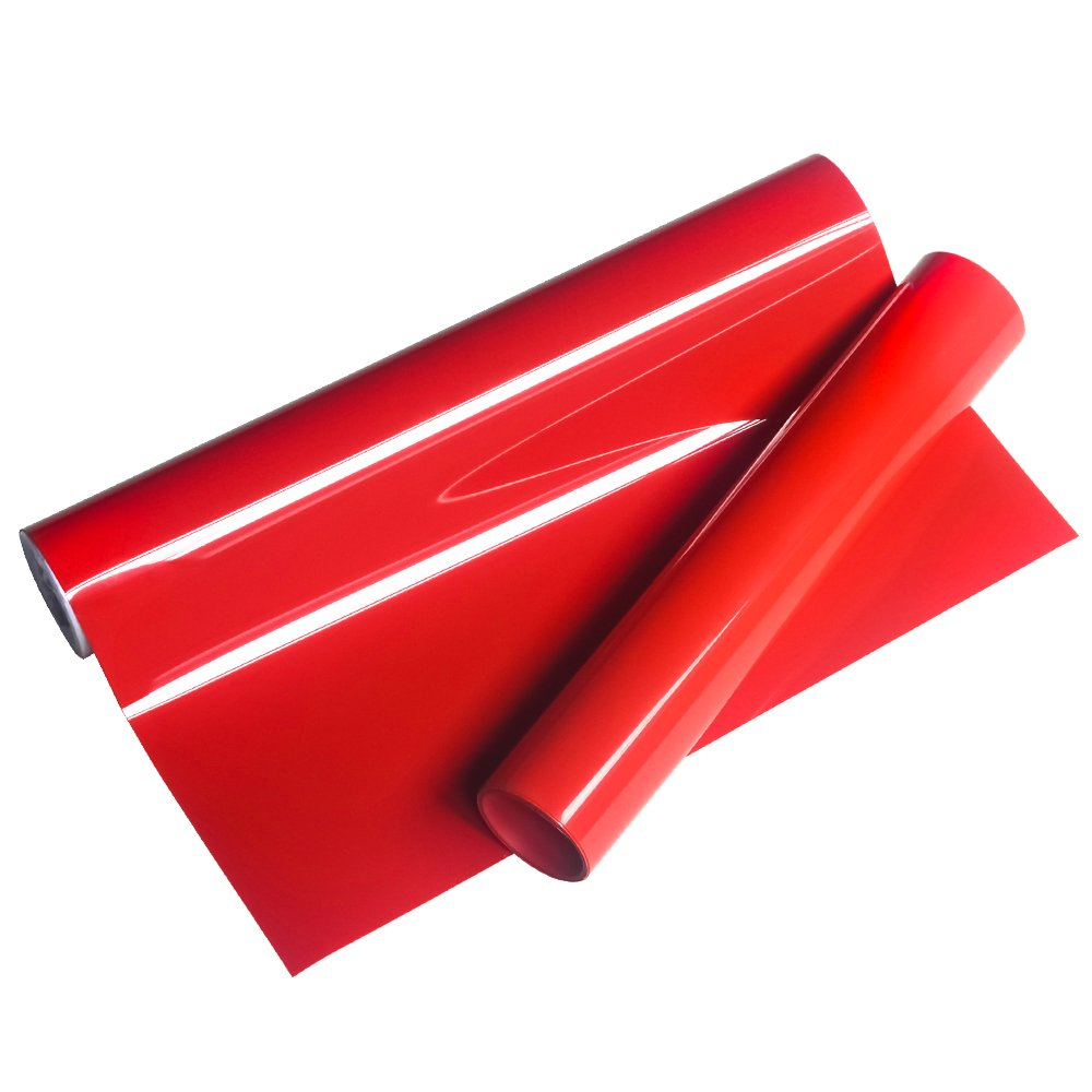 VINYL FROG HTV 10'' x5 FT PU Red Heat Transfer Vinyl Roll for T Shirts,Garments Bags and Other Fabrics by VINYL FROG