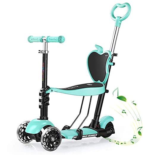 JZX Patineta-Scooter plegable para niños Música ajustable ...