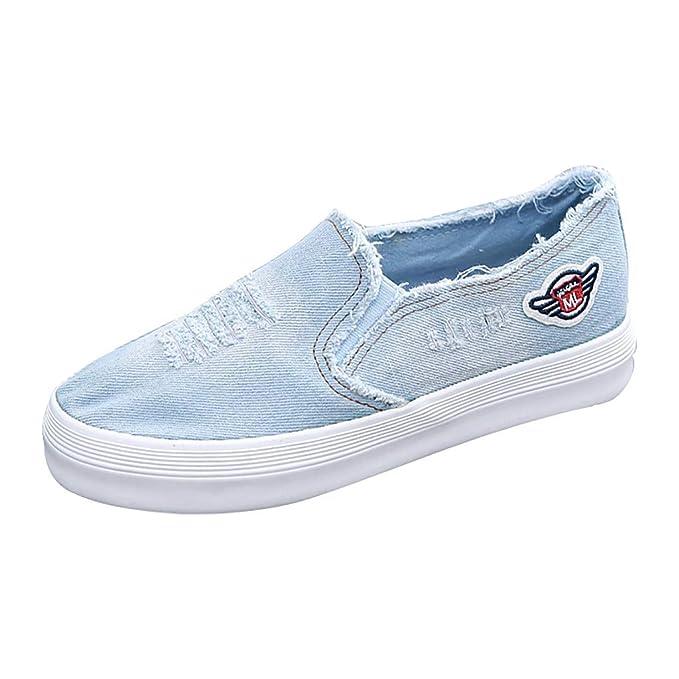 Amazon.com: Malbaba Women Ladies Flat Shoes Loafers, Denim ...