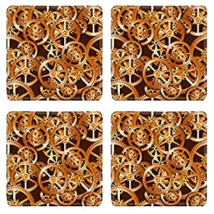 Luxlady Natural Rubber Square Coasters IMAGE ID: 30558557 gears on a dark rad background seamless pattern vector illustration
