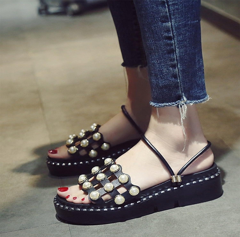 Chaussons Semelles épaisses de Lady Summer,avec Anti-Dérapant Fashion Sandales Plates-Noir Longueur du Pied=22.8CM(9Inch)