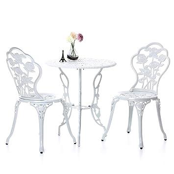 IKAYAA 3PCS Modern Patio Furniture Outdoor Garden Bistro Set Iron Aluminum  Balcony Cafe Table U0026 Chairs