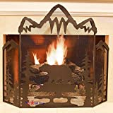 BestGiftEver Metal Foldable Fireplace Screen with Mountain Bear in Black Metal Mesh Rustic Western Country Style