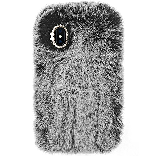 Crosspace iPhone Xs Max Case Slim Fit Bling Diamond Luxury Winter Soft Warm Faux Rabbit Fur Fuzzy Plush with Crystal Cute Protective Back Cover for iPhone Xs Max 6.5-Gray