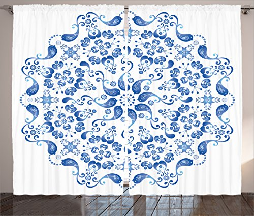 - Ambesonne Mandala Decor Collection, Eastern Ottoman Turkish Mosaic Ceramic Style Artsy Round Shape with Birds Baroque Image, Living Room Bedroom Curtain 2 Panels Set, 108 X 84 Inches, Blue White