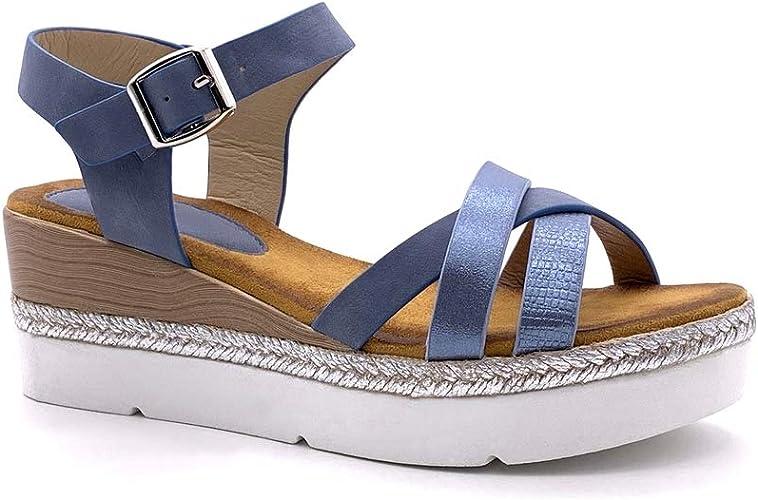 Angkorly Chaussure Mode Sandale Plateforme lanière Cheville Femme lanières croisées Corde tressé Talon compensé Plateforme