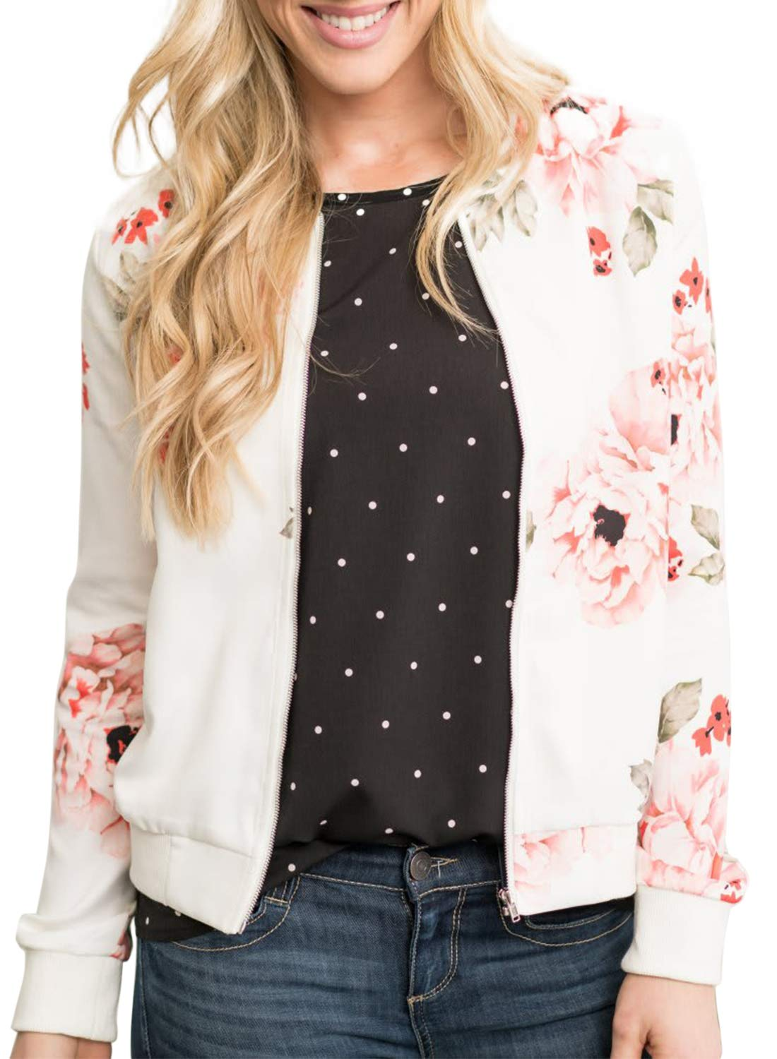 ZESICA Women's Long Sleeve Floral Print Classic Quilted Short Bomber Jacket with Pockets