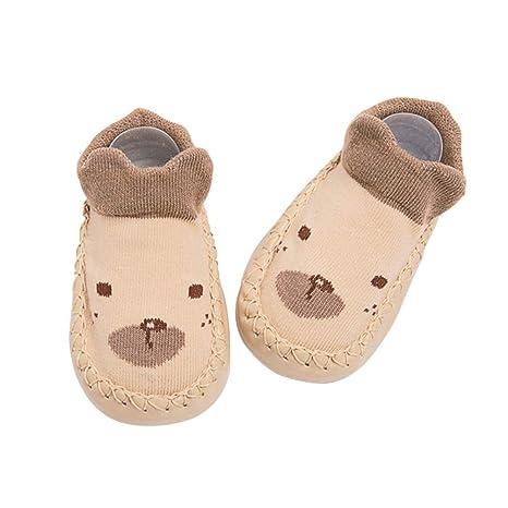 BESTOYARD Bebé Niños Niñas Niños Pequeños Lindos Zapatillas Antideslizantes Zapatilla Oso Animal Invierno Cálido Suela de