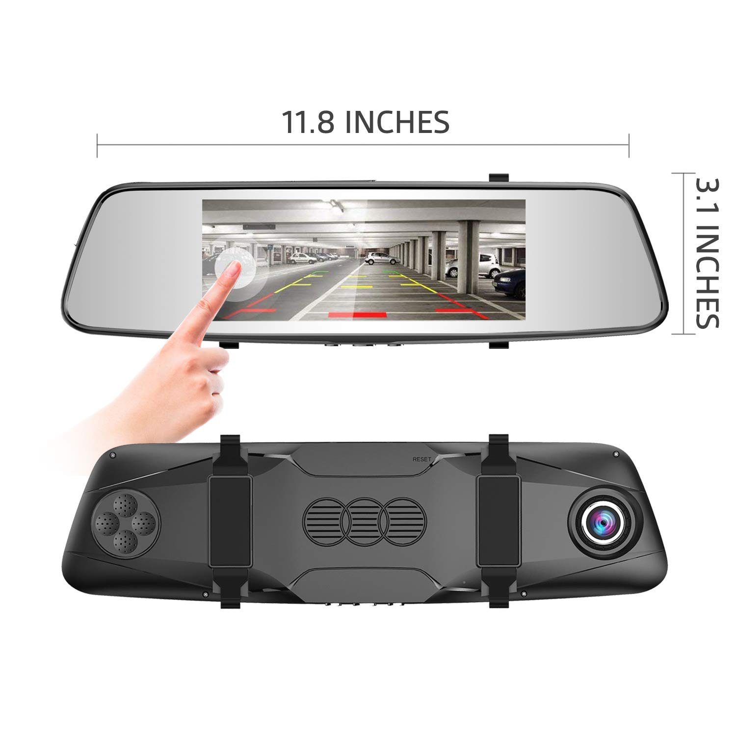 Pruveeo D700 7-Inch Touch Screen Backup Camera Dash Cam Front and Rear Dual Channel with Rear View Reversing Camera