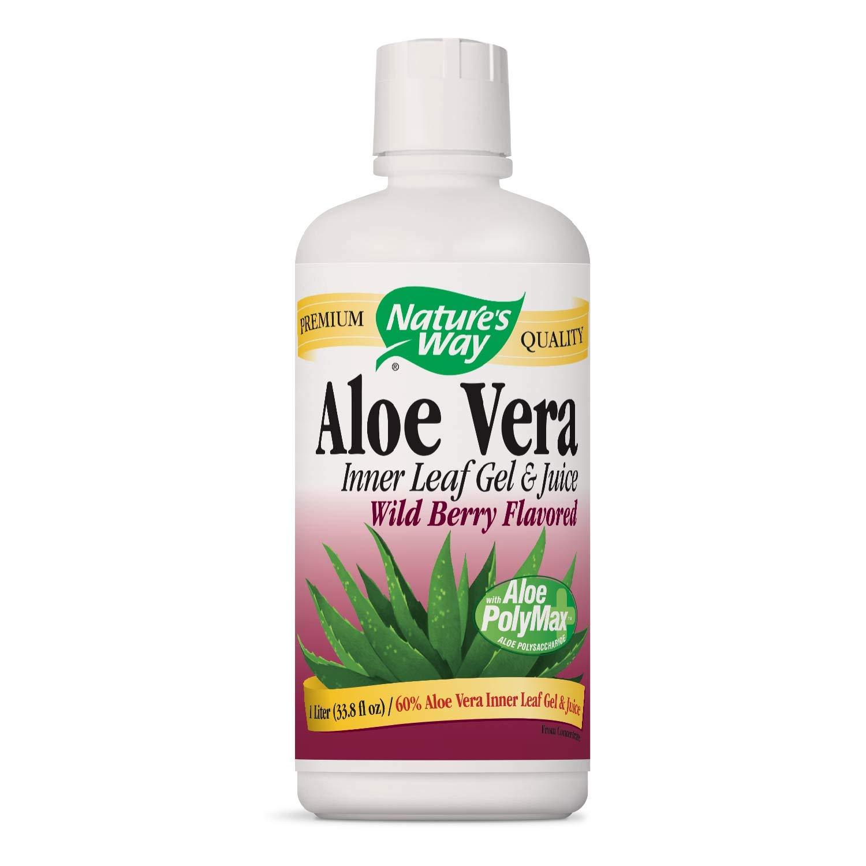 Nature's Way Premium Aloe Vera Inner Leaf Gel & Juice 99% Purified, Wild Berry Flavored, 33.8 fl oz. (Packaging May Vary)