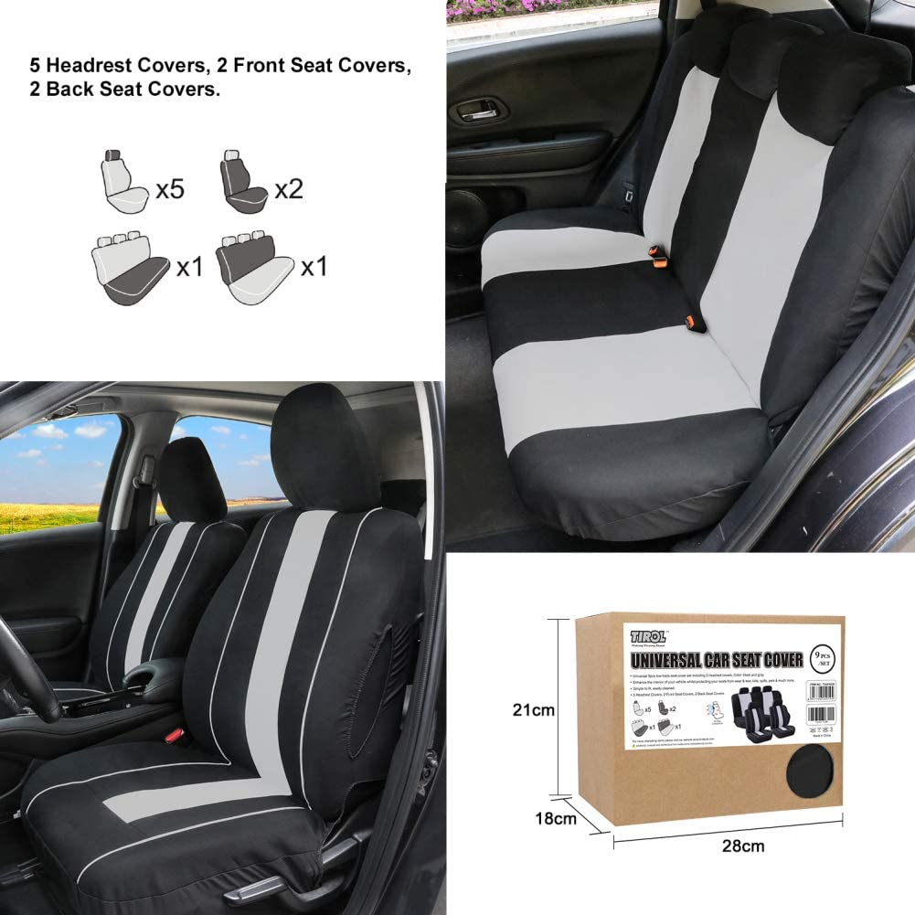 TIROL Universal PU Leather Car Front Single Seat Covers with Waist Support For Crossovers Sedans Black Gray Pack Of 1