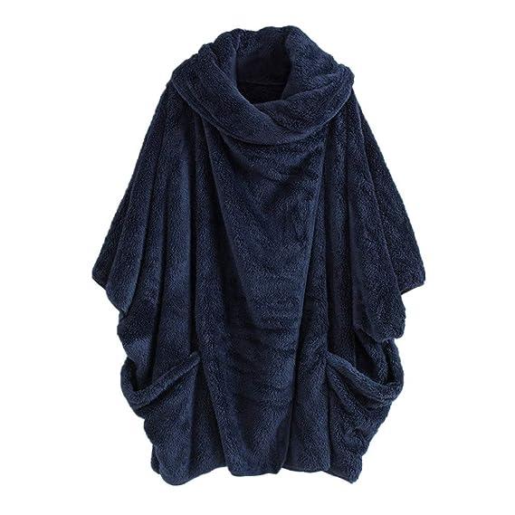 Luckycat Mujeres Casual Sólido Cuello Alto Grandes Bolsillos Capa Abrigos Vintage Abrigos de Gran tamaño (