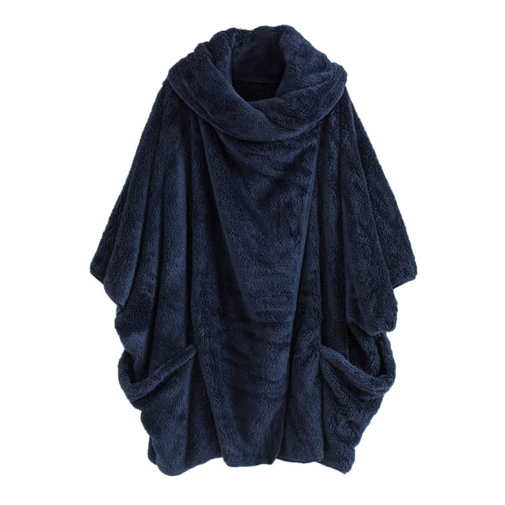 Kanhan Women Solid Turtleneck Bat Sleeve Big Pockets Cloak Coats Warm Vintage Oversize Coats (M, Blue)