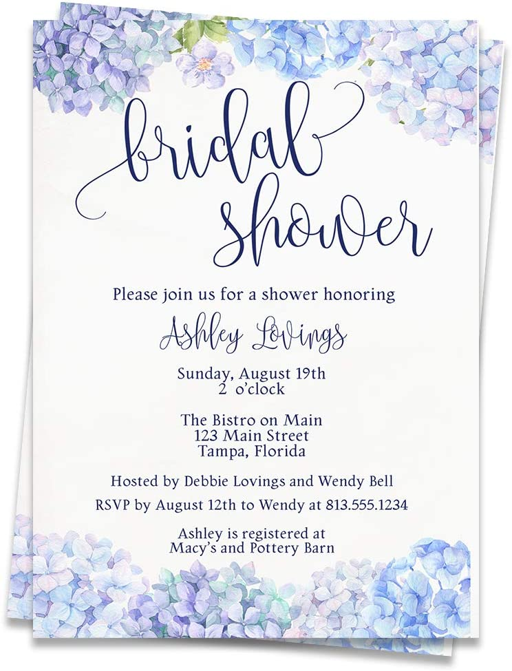 Amazon Com Wildflower Bridal Shower Invitations Hydrangea Baby Shower Invites Wedding Retirement Baby Shower Purple Blue Indigo Floral Flowers Watercolor Printed Customized Custom Personalized 12 Count Office Products