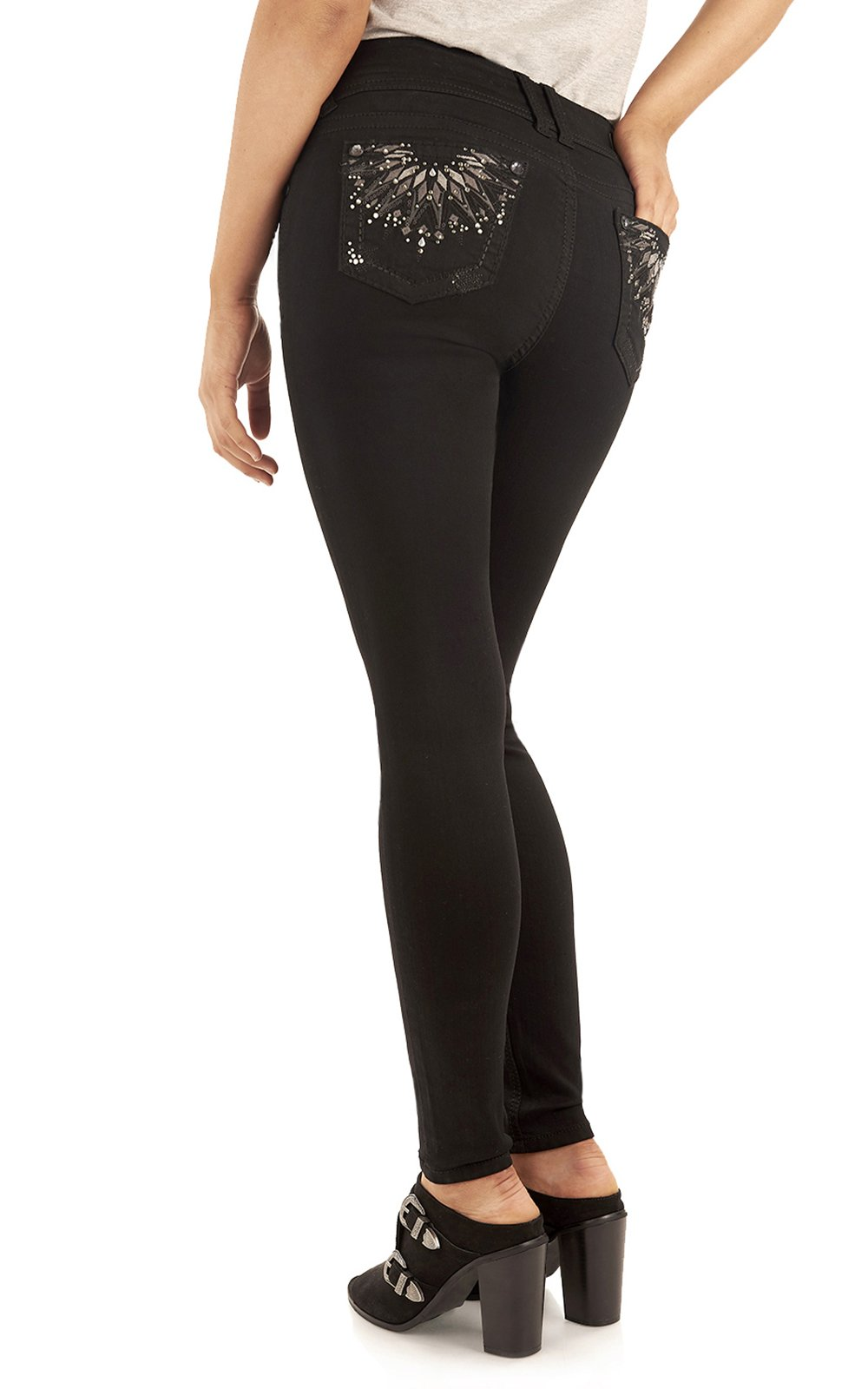 WallFlower Women's Juniors Luscious Curvy Bling Skinny Jeggings in Black, 7