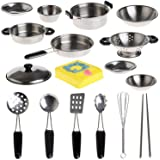 Kitchen Playsets Toys, Bestow 20Pcs Stainless Steel Pots Pans Cookware Miniature Toy Pretend Play Gift For Kid