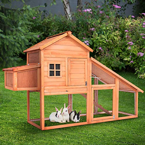 Tangkula Wooden Chicken Coop Large Rabbit Hutch Backyard Garden Wood Pet House Bunny Cage Nest Box Hen House Hutch w/Run (75