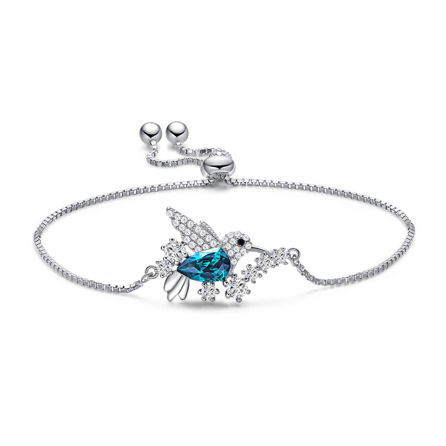 CDE Hummingbird Swarovski Bracelet Sterling Silver Women Bangle Bracelets Fine Jewelry Green Stone