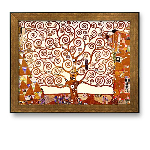 Framed Art The Tree of Life 1905 by Gustav Klimt Famous Painting Wall Decor Bronze and Black Frame