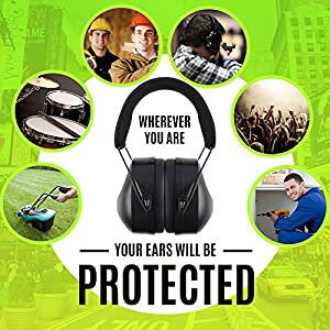 Noise Cancelling Ear Muffs - Ear Muffs For Men And Women - For Kids and Adults - Ear Muffs for Work and Airplane - Shooting and Hunting Noise Cancelling - Ear Muffs Noise Cancelling