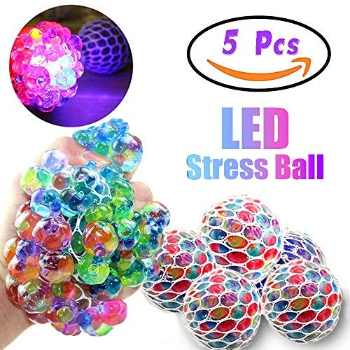 Qiwoo 5 Pack Squishy Mesh Anti-Stress Sensory Balls Grape Glowing Flashing Multi-Color Relief Relieve Pressure Fidget Squeeze Toys Non-Toxic for Women Men Kids Boys Girls Outdoor School Office Travel