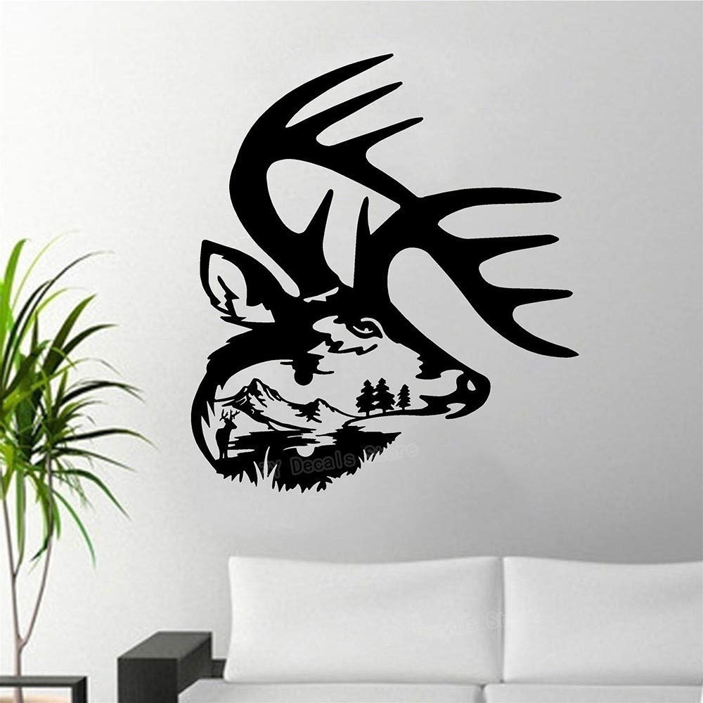 3D Etiqueta De La Pared Deer Head Paisaje Vinilo Arte Tatuajes De ...