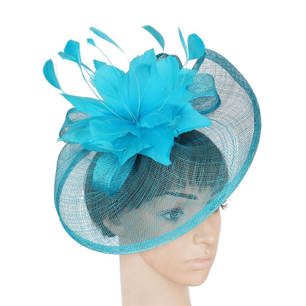 Alihao Fascinator Hats for Women Feather Flower Sinamay Hats Bridal Wedding Party Caps
