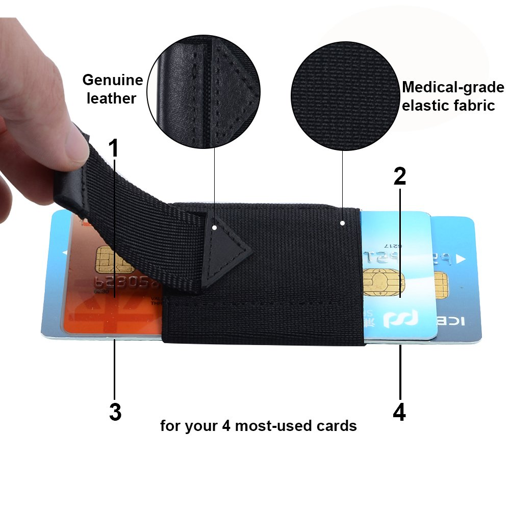 Slim Minimalist Wallet Thin Elastic Card Holder Leather Pull Up Tab With Front Pocket Cash Coin Key Holder For Men Women