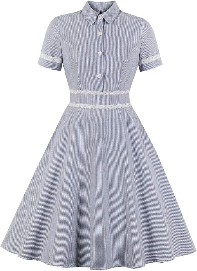 1950s Dresses, 50s Dresses | 1950s Style Dresses Wellwits Womens Lace Trim Stripes Short Sleeves Shirt Vintage Career Dress $23.98 AT vintagedancer.com