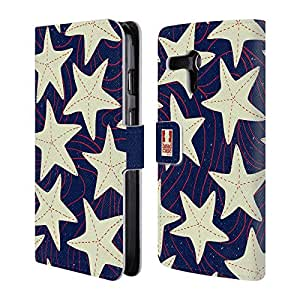 Head Case Designs White Starfish Marine Patterns Leather Book Wallet Case Cover For Motorola Moto G (1st Gen)