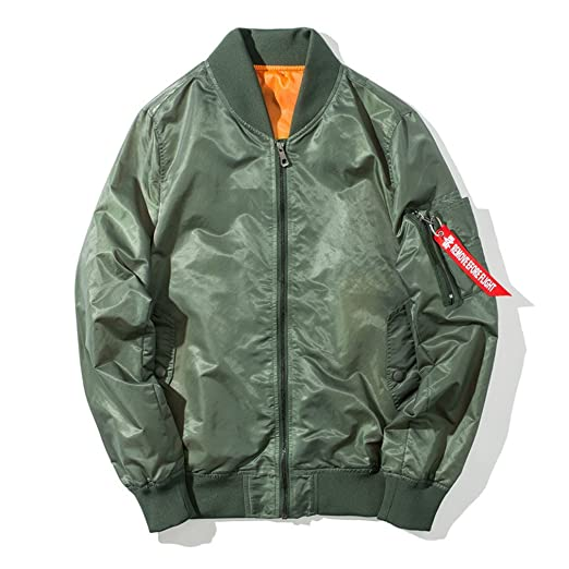 Veefpsm Mens Military Jacket MA-1 Military Tactical Baseball Jacket Army Green S