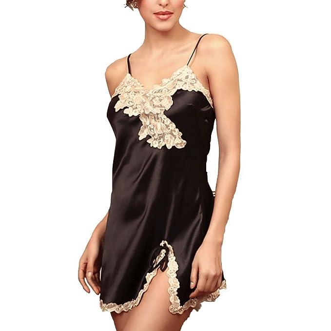 Oudan Vestido de Pijama de Manga Corta para Mujer Vestido de Pijama de Encaje Sexy para Camisón de Noche: Amazon.es: Ropa y accesorios