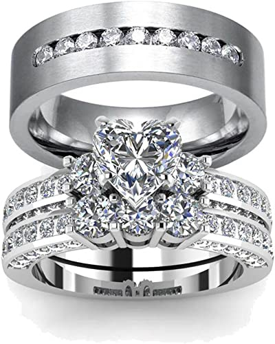 Amazon Com Loversring His And Hers Engagement Wedding Rings Bands