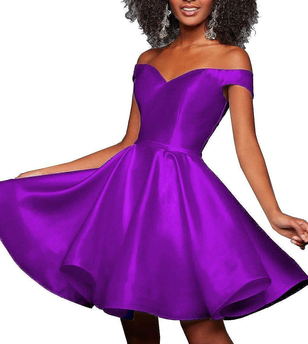 Purple JQLD Women's Satin Sweetheart Off Shoulder Short Homecoming Dresses for Girls Ruched Skirt