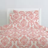 Carousel Designs Coral Painted Damask Duvet Cover Queen/Full Size - Organic 100% Cotton Duvet Cover - Made in the USA