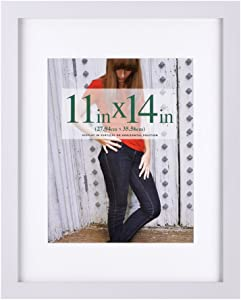 RPJC 11x14 Picture Frames Made of Solid Wood and High Definition Glass Display Pictures 8x10 with Mat or 11x14 Without Mat for Wall Mounting Photo Frame White