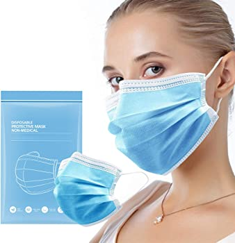 50-Pieces HSDZ Disposable Face Mask with Elastic Earloops