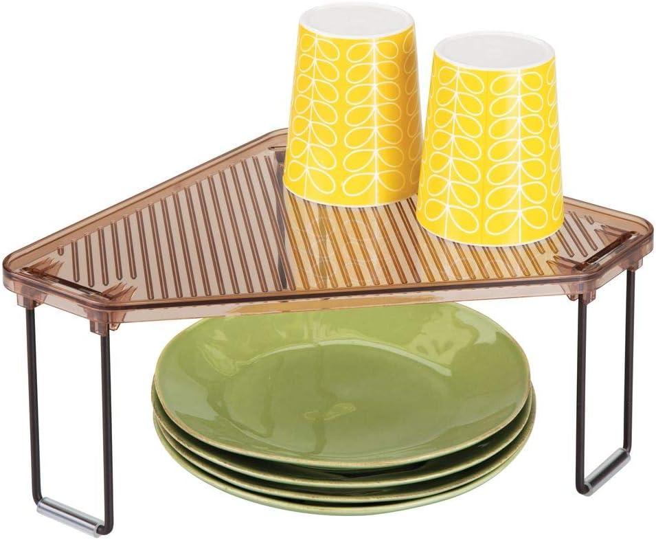 mDesign Estante de cocina – Soporte para platos para encimera o interiores de armarios – Organizador de armarios de cocina individual y apilable – color bronce y marrón: Amazon.es: Hogar