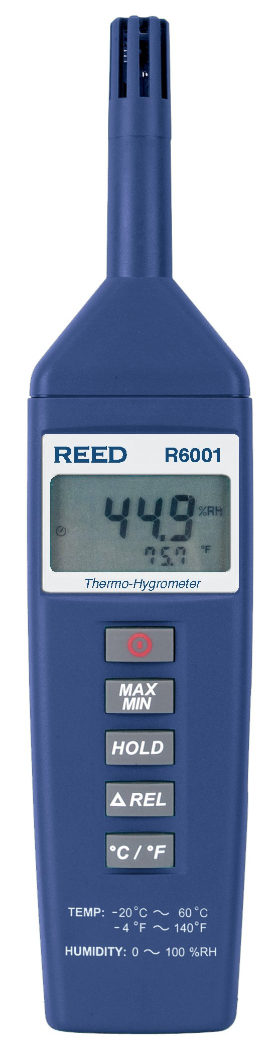REED Instruments R6001 Thermo-Hygrometer, -4 to 140°F (-20 to 60°C), 0-100%RH with NIST Calibration Certificate