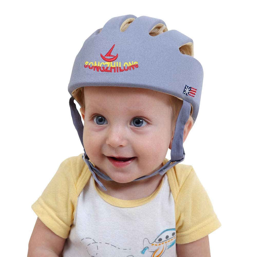 ESUPPORT Baby Adjustable Safety Helmet Headguard Protective Harnesses Hat Providing Safer Environment When Learning to Crawl Walk Play Grey