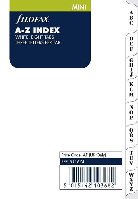 Filofax - Separador para mini archivador (A-Z, 3 letras por pestaña), color