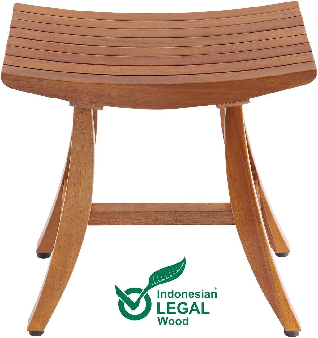 """18"""" Teak Shower Bench, Teak Shower Stool, Shower Chair Wood, Shower Stool Wood, Teak Shower Seat, Assembly Required"""